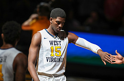 Jan 9, 2018; Morgantown, WV, USA; West Virginia Mountaineers forward Lamont West (15) is announced before their game against the Baylor Bears at WVU Coliseum. Mandatory Credit: Ben Queen-USA TODAY Sports