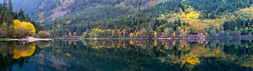 Panorama of Fall colours at Silver Lake in Silver Lake Provincial Park near Hope, British Columbia, Canada