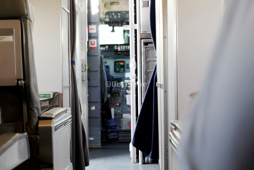 reinforced door to the cockpit of a commercial passenger airplane