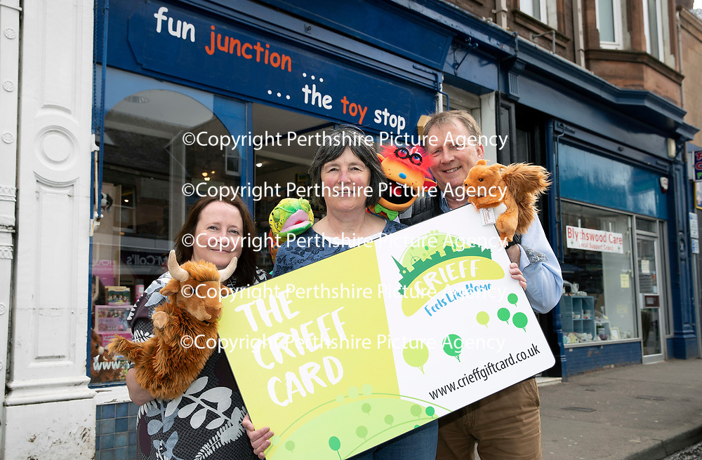 FREE TO USE PHOTOGRAPH ..08.05.18<br />Launching of The Crieff Card, pictured from left, Ruth Williams Marketing & Communications Exec for Crieff Bid, Karen Christie owner of Fun Junction and Neil Combe Crieff Bid Manager.<br />for further info contact Alison Lowson at Volpa on 01738 700142 or a.lowson@volpa.co.uk<br />Picture by Graeme Hart. <br />Copyright Perthshire Picture Agency<br />Tel: 01738 623350  Mobile: 07990 594431