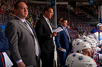 PENTICTON, CANADA - SEPTEMBER 8: Tony Borgford, Gerry Fleming and JF Houle, coaches of Edmonton Oilers stand on the bench against the Calgary Flames on September 8, 2017 at the South Okanagan Event Centre in Penticton, British Columbia, Canada.  (Photo by Marissa Baecker/Shoot the Breeze)  *** Local Caption ***