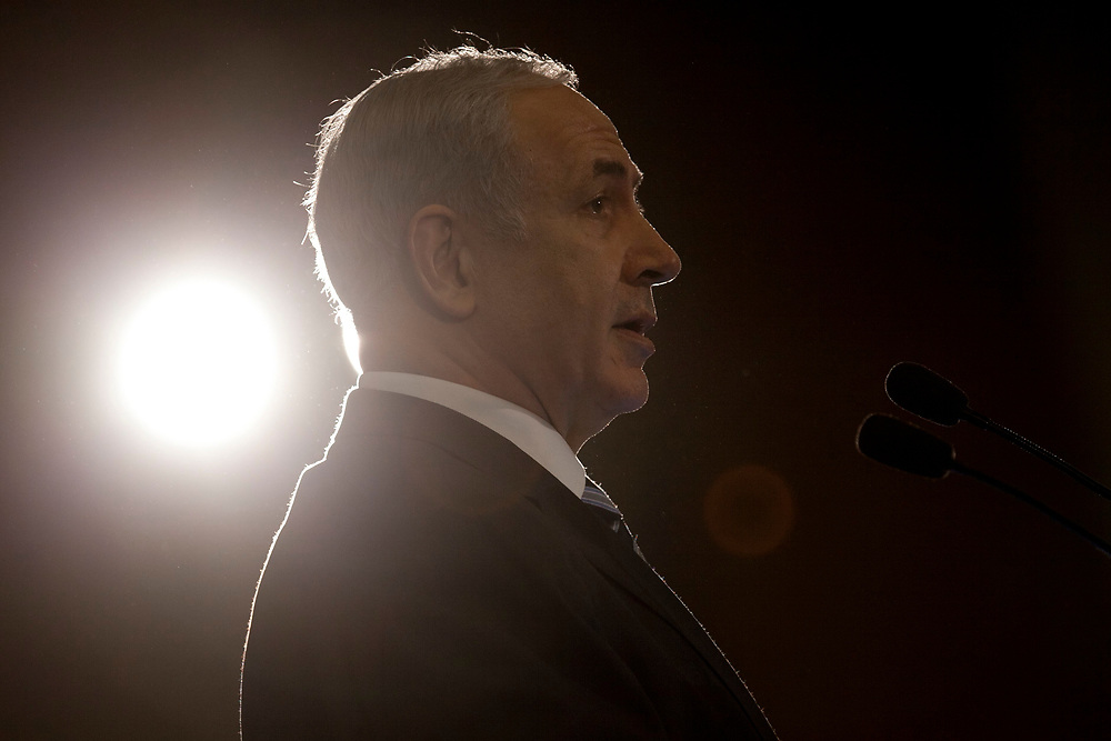 Israel's Prime Minister Benjamin Netanyahu delivers a speech during the opening session of the Conference of Presidents of Major American Jewish Organizations in Jerusalem, on February 19 ,2012.