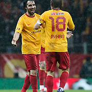 Galatasaray's Engin Baytar (L) celebrate his goal with team mate during their Turkey Cup matchday 3 soccer match Galatasaray between AdanaDemirspor at the Turk Telekom Arena at Aslantepe in Istanbul Turkey on Tuesday 10 January 2012. Photo by TURKPIX