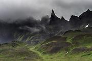 Hraundrangar mountains in Öxnadalur walley, North-Iceland.