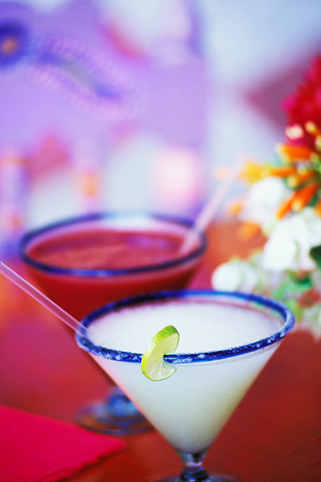 margarita and strawberry margarita blended cocktails Mexico