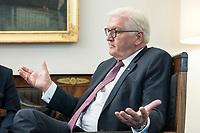 02 JUL 2018, BERLIN/GERMANY:<br /> Frank-Walter Steinmeier, Bundespraesident, waehrend einem Interview, Amtszimmer des Bundespraesidenten, Schloss Bellevue<br /> IMAGE: 20180702-01-039<br /> KEYWORDS: Bundespräsident