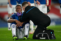 Football - 2020 / 2021 League Cup - Quarter-Final - Everton vs Manchester United - Goodison Park<br /> <br /> Everton Yerry Mina has a face injury from a collision with Everton Robin Olsen<br /> <br /> <br /> COLORSPORT/TERRY DONNELLY