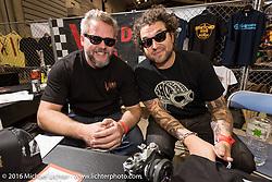 Born Free's Harpoon (L) and Grant Peterson at the Mooneyes Yokohama Hot Rod & Custom Show. Yokohama, Japan. December 4, 2016.  Photography ©2016 Michael Lichter.