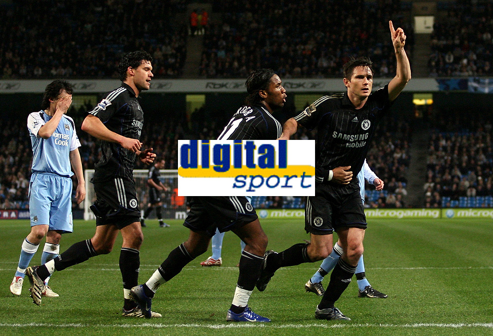 Photo: Paul Thomas.<br /> Manchester City v Chelsea. The Barclays Premiership. 14/03/2007.<br /> <br /> Frank Lampard (R) celebrates his penalty with team-mates Didier Drogba and Michael Ballack, while City players can't believe it and look away.