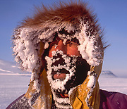 New Zealander Colin Monteath with frosted face after skiing across Svalbard, Norwegian Arctic