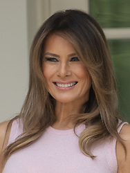 August 27, 2018 - Washington, District of Columbia, U.S. - First lady Melania Trump stands on the Colonnade of the White House in Washington, DC on Monday, August 27, 2018.  .Credit: Ron Sachs / CNP (Credit Image: © Ron Sachs/CNP via ZUMA Wire)