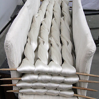 Asia, China, Suzhou. Bolts of silk thread for manufacturing fabrics.