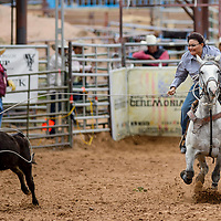 Breakaway roper Michele Morris makes a 3.39 second run during the Gallup Intertribal Indian Ceremonial Rodeo at Red Rock Park in Gallup Friday.