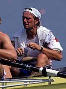 Barcelona, SPAIN.   GBR  M8+, Martin CROSS, 1992 Olympic Rowing Regatta Lake Banyoles, Catalonia [Mandatory Credit Peter Spurrier/ Intersport Images]