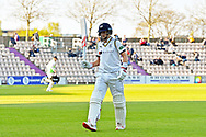 Wicket - Joe Root of Yorkshire looks frustrated as he walks back to the pavilion after being dismissed by Liam Dawson of Hampshire during the Specsavers County Champ Div 1 match between Hampshire County Cricket Club and Yorkshire County Cricket Club at the Ageas Bowl, Southampton, United Kingdom on 11 April 2019.