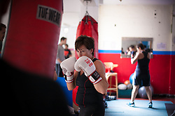 © London News Pictures. 20/09/2012. Penny Mallory - TV presenter in training. Chefs participating in the Rumble in the Kitchen charity event Galvins Chance,  training at British Champion boxer,  Clinton McKenzies gym in Londom. Galvin's Chance charity supports young people aged 18-24 who may be ex-offenders or who are deemed disadvantaged, including those at risk of gang culture to find employment in the hospitality undustry.. Picture credit should read Manu Palomeque/LNP
