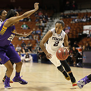 Feyonda Fitzgerald, Temple, drives to the basket defended by Tatiana Chapple, East Carolina, during the Temple Vs East Carolina Quarterfinal Basketball game during the American Women's College Basketball Championships 2015 at Mohegan Sun Arena, Uncasville, Connecticut, USA. 7th March 2015. Photo Tim Clayton