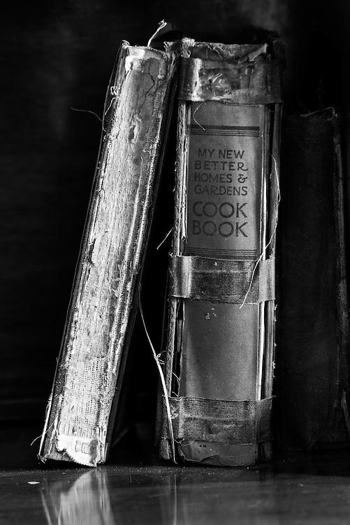 Old books on a shelf.