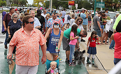 Spectators pack the sidewalk near Space View Park in Titusville, FL, USA, on Wednesday, May 27, 2020. The crowd was awaiting the SpaceX and NASA rocket launch of two astronauts from the nearby Kennedy Space Center, which was postponed due to weather. Photo by Stephen M. Dowell/Orlando Sentinel/TNS/ABACAPRESS.COM