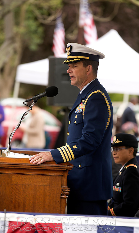 Guest speaker Capt. Matthew T. Bell, Jr., the Pacific Area Chief of Staff for the U.S. Coast Guard, addresses the audience at the 94th annual Memorial Day Commemoration at Mountain View Cemetery, in Oakland, Calif., Monday, May 25, 2015. (Photo by D. Ross Cameron)