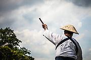NAGATORO, JAPAN - Saitama - Traditional canyoning with a wood boat on the Arakawa river in Nagatoro. July 2010 [FR] Un conducteur d'embarcation traditionnelle dans les rapides de la rivière Arakawa au nord ouest de Tokyo