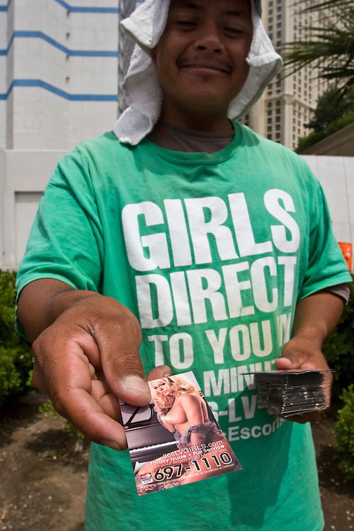 Hooker business cards offered out on the streets of Las Vegas, NV, USA..