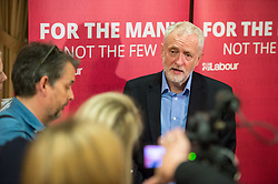 © Licensed to London News Pictures.  11/08/2017; Bristol, UK. JEREMY CORBYN, Leader of the Labour Party, arrives and speaks to Labour Party members and later the media (pictured) at the BAWA Club in Filton, Bristol. There was a small pro-EU demonstration outside as a car carrying Jeremy Corbyn left after the event. Picture credit : Simon Chapman/LNP