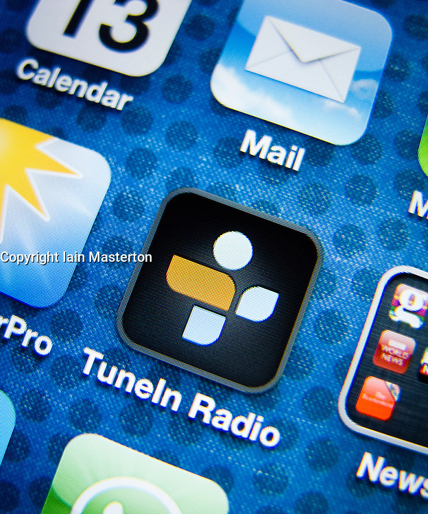 detail of iPhone 4G screen showing Tune-in popular internet radio streaming app icon