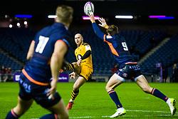 Dan Robson of Wasps has his kick charged down by Henry Pyrgos of Edinburgh  - Mandatory by-line: Ewan Bootman/JMP - 06/12/2019 - RUGBY - Murrayfield - Edinburgh, England - Edinburgh Rugby v Wasps - European Rugby Challenge Cup