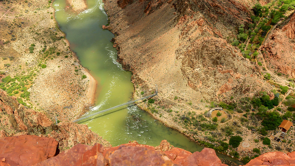Footbridge over the Colorado River to Phantom Ranch at the bottom of the Grand Canyon. Photo taken May 7, 2016.