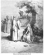 Eliezer and Rebekah meet at the well Genesis 24:16 From the book 'Bible Gallery' Illustrated by Gustave Dore with Memoir of Doré and Descriptive Letter-press by Talbot W. Chambers D.D. Published by Cassell & Company Limited in London and simultaneously by Mame in Tours, France in 1866