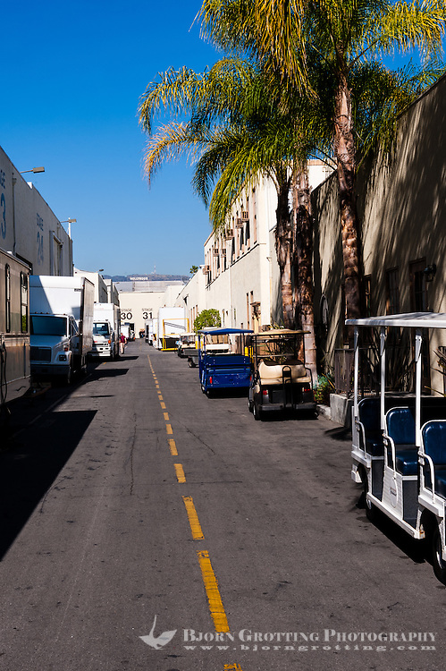 United States, California, Los Angeles. Paramount Pictures Corporation located at 5555 Melrose Avenue in Hollywood, the only film studio left in Hollywood. View with the Hollywood sign in the background.