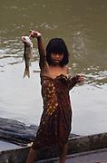 FISHING, MALAYSIA. Sarawak, Borneo, South East Asia. Dayak, 'Kelabit', girl fisherman with net. Tropical rainforest and one of the world's richest, oldest eco-systems, flora and fauna, under threat from development, logging and deforestation. Home to indigenous Dayak native tribal peoples, farming by slash and burn cultivation, fishing and hunting wild boar. Home to the Penan, traditional nomadic hunter-gatherers, of whom only one thousand survive, eating roots, and hunting wild animals with blowpipes. Animists, Christians, they still practice traditional medicine from herbs and plants. Native people have mounted protests and blockades against logging concessions, many have been arrested and imprisoned.