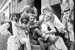 File photo dated 27/3/1982 of Freddie Starr who has died aged 76, according to reports, with dancing group Hot Gossip who were starring in his show at the Apollo Theatre in Victoria, London.