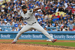 May 28, 2018 - Los Angeles, CA, U.S. - LOS ANGELES, CA - MAY 28: Philadelphia Phillies pitcher Seranthony Dom'nguez (58) throws a pitch during a MLB game between the Philadelphia Phillies and the Los Angeles Dodgers on Memorial Day, May 28, 2018 at Dodger Stadium in Los Angeles, CA. (Photo by Brian Rothmuller/Icon Sportswire) (Credit Image: © Brian Rothmuller/Icon SMI via ZUMA Press)