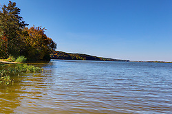11 October 2015:  Looking down river from the far east portion of Starved Rock State Park back towards the locks and Starved Rock. Scenics from along the Illinois River Scenic Road and sites along the drive.  All images were between Ottawa and East Peoria.<br /> <br /> This image was produced in part utilizing High Dynamic Range (HDR) processes.  It should not be used editorially without being listed as an illustration or with a disclaimer.  It may or may not be an accurate representation of the scene as originally photographed and the finished image is the creation of the photographer.