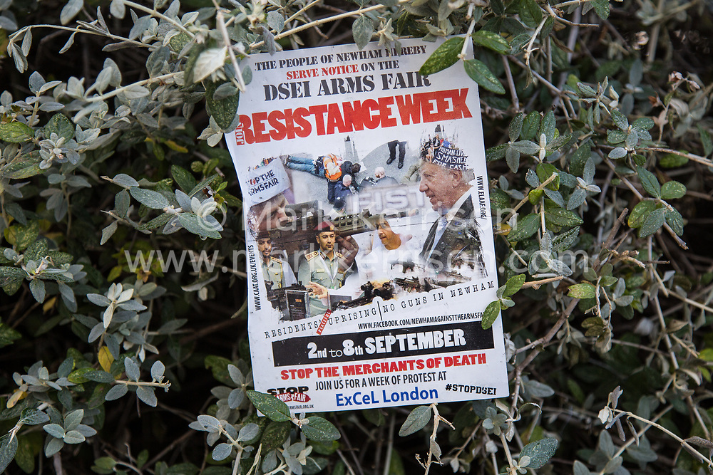 London, UK. 7 September, 2019. A flyer for a week of resistance against DSEI, the world's largest arms fair, at ExCel London.