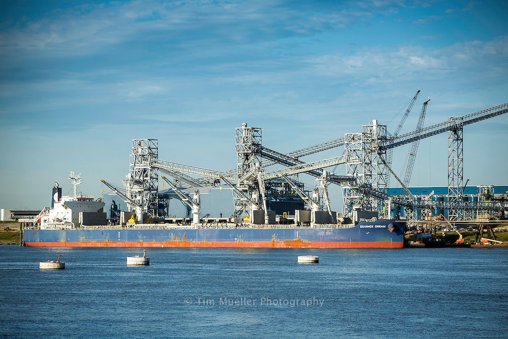 The bulk carrier, Equinox Dream, is the first vessel to dock at the Louis Dreyfus Commodities grain elevator along the Mississippi River at the Port of Greater Baton Rouge in Port Allen, La.