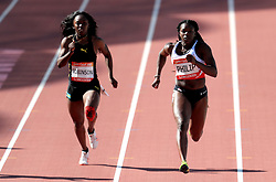 The Bahamas' V'Alonee Robinson (left) and England's Asha Philip compete in the Women's 100m Round 1 - Heat 3 at the Carrara Stadium during day four of the 2018 Commonwealth Games in the Gold Coast, Australia.
