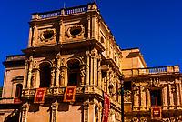 Ayuntamiento (City Hall) decorated for Holy Week (Semana Santa), Seville, Andalusia, Spain.