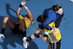 Andrea Lekic and Tamara Mavsar at handball match at Main round of Champions League between RK Krim Mercator, Ljubljana and CS Oltchim Rm. Valcea, Romania, in Arena Kodeljevo, Ljubljana, Slovenia, on 28th of February 2009. Krim won 35:34.