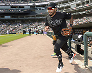 CHICAGO - AUGUST 25:  Leury Garcia #28 of the Chicago White Sox runs onto the field against the Texas Rangers during Players Weekend on August  25, 2019 at Guaranteed Rate Field in Chicago, Illinois.  (Photo by Ron Vesely)  Subject:   Leury Garcia