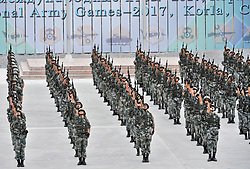 (170730) -- KORLA, July 30, 2017 (Xinhua) -- Photo taken on July 30, 2017 shows the opening ceremony of the International Army Games 2017 in Korla of northwest China's Xinjiang Uygur Autonomous Region. Six events of the International Army Games 2017 were kicked off at three sites in China Sunday.  (Xinhua/Hu Huhu)(clq) (Photo by Xinhua/Sipa USA)