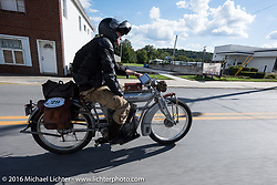 Ryan Allen riding his 1916 Indian during the Motorcycle Cannonball Race of the Century. Stage-2 from York, PA to Morgantown, WV. USA. Sunday September 11, 2016. Photography ©2016 Michael Lichter.