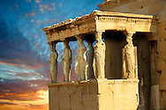 The Porch of the Caryatids.  The Erechtheum, the Acropolis of Athens in Greece. .<br /> <br /> If you prefer to buy from our ALAMY PHOTO LIBRARY  Collection visit : https://www.alamy.com/portfolio/paul-williams-funkystock/acropolis-athens.html<br /> <br /> Visit our ANCIENT WORLD PHOTO COLLECTIONS for more photos to download or buy as wall art prints https://funkystock.photoshelter.com/gallery-collection/Ancient-World-Art-Antiquities-Historic-Sites-Pictures-Images-of/C00006u26yqSkDOM