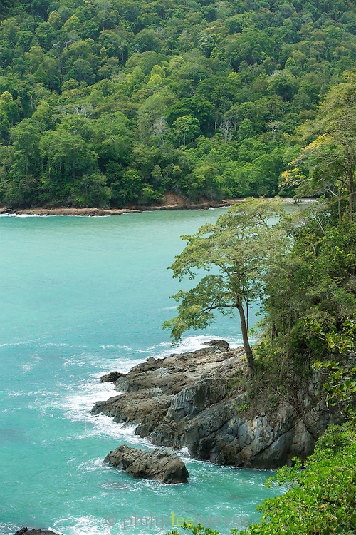 Overview from cliff top to the sea, Meru Betiri National Park, East Java, Indonesia, Southeast Asia
