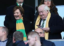 Norwich City's joint majority shareholder Delia Smith, alongside her husband, Michael Wynn Jones, prepare for kick-off
