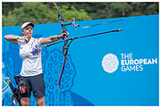 Bryony Pitman during the women's recurve finals at the 2019 Minsk European Games in Belarus. Shot for Team GB & Lumix UK