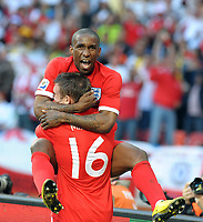 Nelson Mandela Bay Stadium Port Elizabeth World Cup 2010  Match 37 23/06/10<br /> Jermain Defoe (ENG) scores first goal and celebrtaes with James Milner <br /> Photo Roger Parker Fotosports International