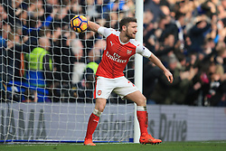 4 February 2017 - Premier League - Chelsea v Arsenal - Shkodran Mustafi of Arsenal tosses the ball away after they conceed a 2nd goal - Photo: Marc Atkins / Offside.